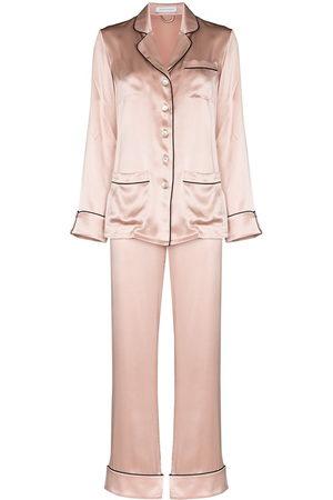Olivia von Halle Women Pajamas - Contrast trim silk pajama set