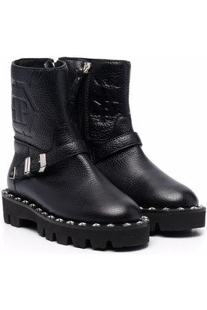 Philipp Plein Girls Ankle Boots - Monogram-debossed biker boots