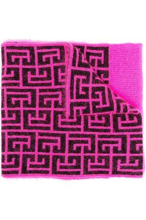 Balmain Monogram-knit scarf