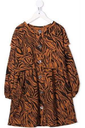 Le pandorine Girls Printed Dresses - Tiger-print midi dress - Neutrals