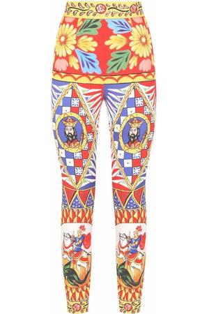 Dolce & Gabbana Women Leggings - Graphic-print high-waisted trousers