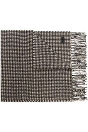Saint Laurent Houndstooth pattern fringed scarf - Neutrals
