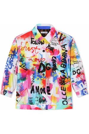 Dolce & Gabbana Girls Denim Jackets - DG graffiti-print denim jacket