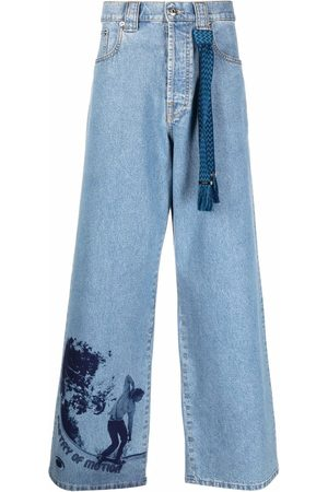 Lanvin Men Wide Leg Pants - Denim graphic-print trousers