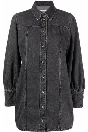 Ganni Mini denim shirt dress - Grey