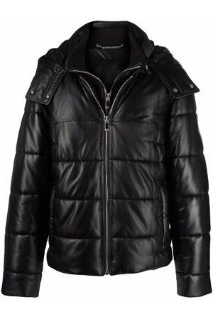 Les Hommes Men Leather Jackets - Leather-panel padded jacket