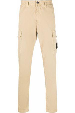 Stone Island Logo-patch straight-leg trousers - Neutrals