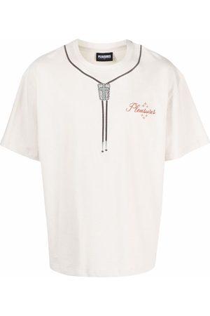 Pleasures Bolo tie logo-print short-sleeved T-shirt - Neutrals