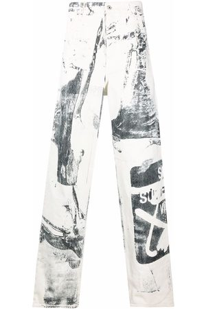 OFF-WHITE Graphic-print wide-leg trousers
