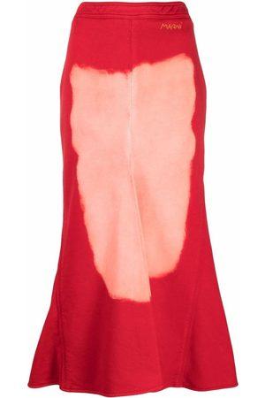 Marni Painterly-print flared skirt