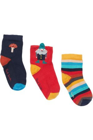 Paul Smith Set Of 3 Intarsia Cotton Knit Socks