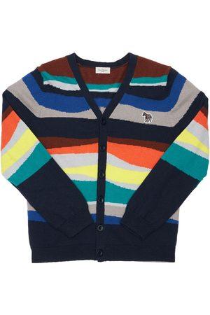Paul Smith Boys Cardigans - Striped Cotton & Cashmere Knit Cardigan