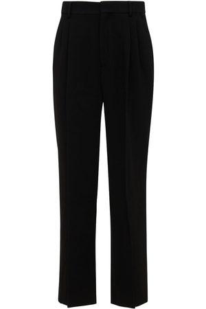 Casablanca Men Wide Leg Pants - Pleated Wide Wool Pants