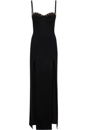 Roberto Cavalli Stretch Viscose Cady Dress W/side Slits