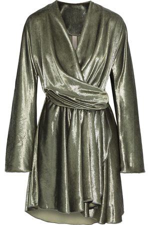MARIA LUCIA HOHAN Woman Nola Asymmetric Crushed-velvet Mini Wrap Dress Army Size 36
