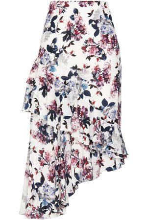 Erdem Women Printed Skirts - Woman Antoinette Asymmetric Tiered Floral-print Silk Crepe De Chine Skirt Size 10