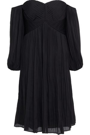 Halston Heritage Women Strapless Dresses - Woman Off-the-shoulder Pleated Glittered Twill Dress Size 2