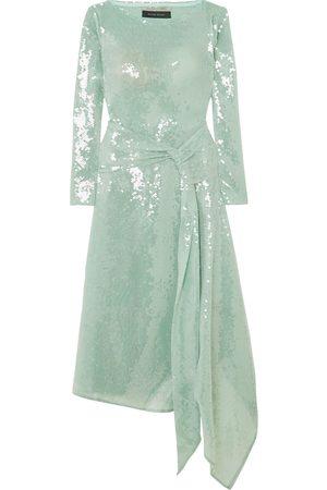 Roland Mouret Women Asymmetrical Dresses - Woman Angelo Asymmetric Draped Sequined Tulle Midi Dress Sage Size 6