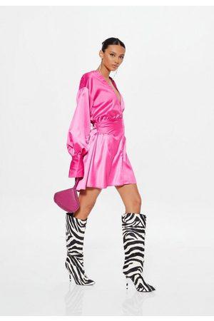 Missguided Women Casual Dresses - Satin Shirt Ruched Mini Dress