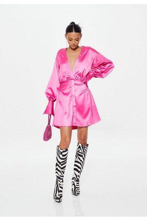 Missguided Tall Satin Shirt Ruched Mini Dress