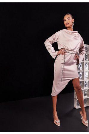 Missguided Women Asymmetrical Dresses - Rose Satin Cowl Neck Asymmetric Waist Chain Mini Dress