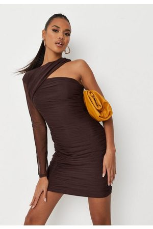 Missguided Chocolate Mesh Asymmetric Shoulder Ruched Mini Dress