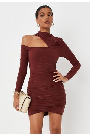 Missguided Chocolate High Neck Ruched Cut Out Slinky Mini Dress