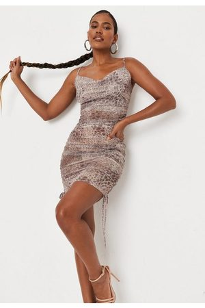 Missguided Women Party Dresses - Animal Print Sheer Mesh Cowl Ruched Mini Dress