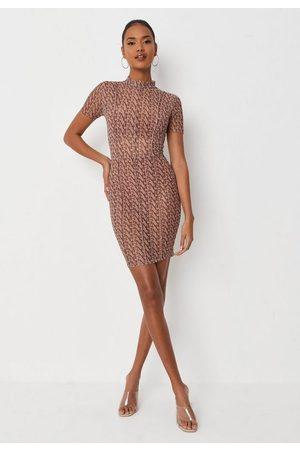 Missguided Mg Monogram Print High Neck Mesh Mini Dress
