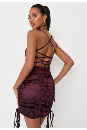 Missguided Tall Wine Satin Slip Dress