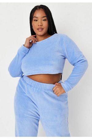 Missguided Plus Size Super Soft Fluffy Crop Loungewear Sweatshirt