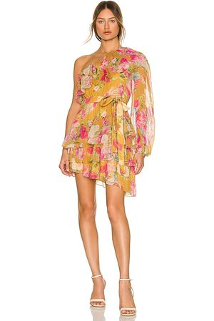 ROCOCO SAND Avar Belted One Shoulder Dress in Mustard.