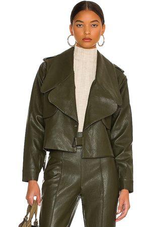 LINE & DOT Kiara Faux Leather Jacket in Olive.