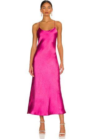 LINE & DOT Makena Midi Dress in Fuchsia.