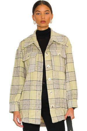 LINE & DOT Alessandra Belted Shacket in Yellow.