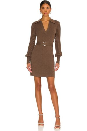 Nicholas Adara Knit V-Neck Long Sleeve Mini Dress with Collar in Brown.