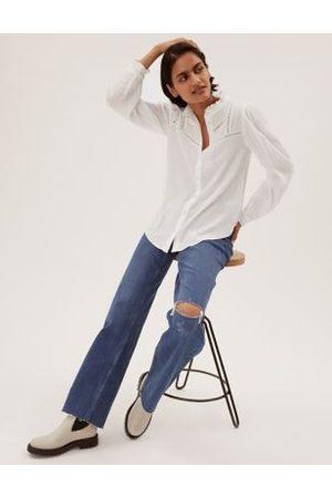 Marks & Spencer Women High Necks - Cotton Textured High Neck Blouse