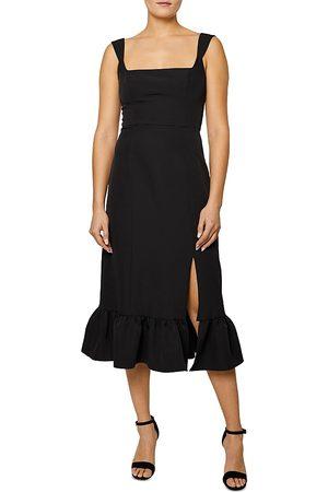 Shelli Segal Ruffled Hem Sleeveless Square Neck Midi Dress