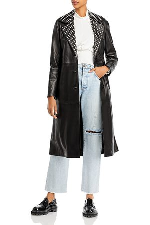 Nour Hammour Women Trench Coats - Embellished Collar Leather Trench Coat