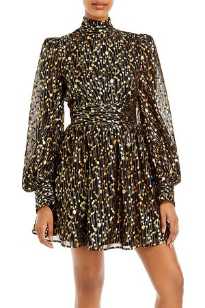 Aqua Mock Neck Foil Mini Dress - 100% Exclusive