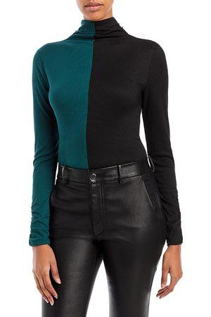 Aqua Color Block Knit Turtleneck Top - 100% Exclusive