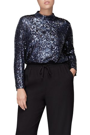 Whistles High Neck Sequin Top