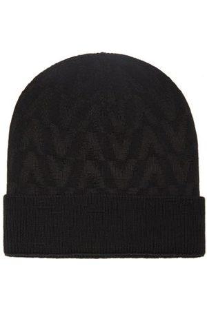 VALENTINO GARAVANI Men Beanies - V-logo Wool-blend Beanie Hat - Mens