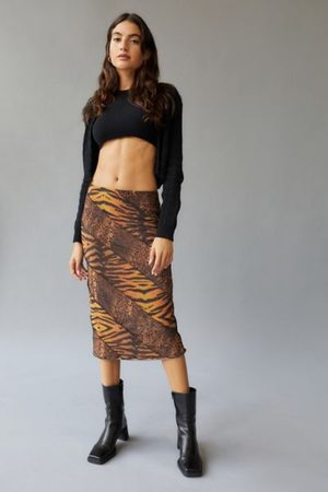 Urban Outfitters UO Darcy Spliced Mesh Midi Skirt