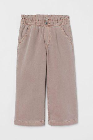 H&M Wide-cut Cotton Paper-bag Pants