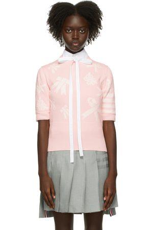 Thom Browne Women Sweatshirts - Pink Intarsia Ribbon 4-Bar Sweater