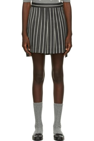 Thom Browne Grey Striped Pleated Dropped Back Miniskirt