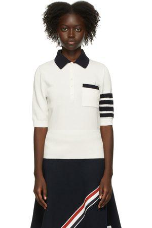 Thom Browne Women Polo Shirts - White Intarsia Hector Icon 4-Bar Polo