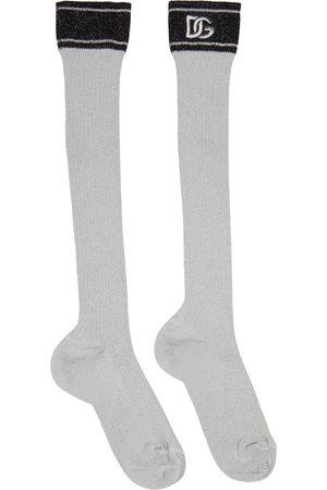 Dolce & Gabbana Grey Lurex Logo Socks