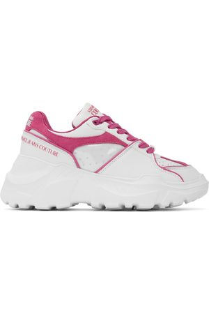 VERSACE Off-White & Pink Speedtrack Low Sneakers